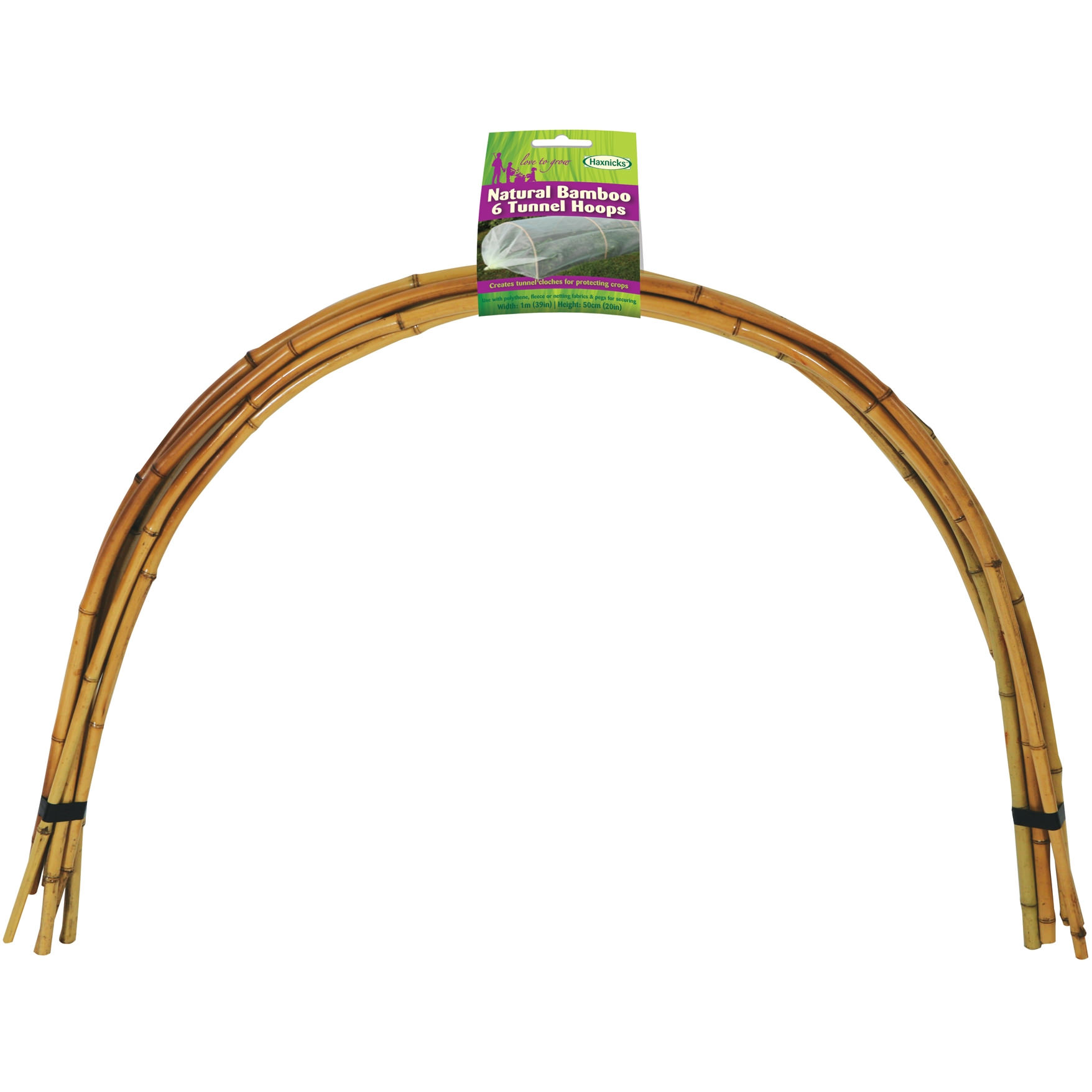 Natural Bamboo Tunnel Hoops (6) 1m x 61cm